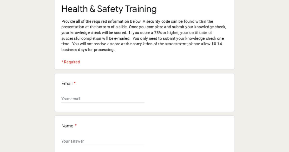 Health Amp Safety Training