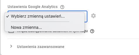 zmienna ustawień google analytics w google tag manager