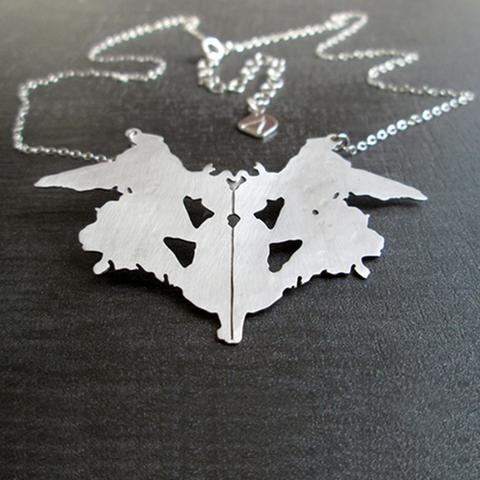 Rorschach inkblot silver necklace