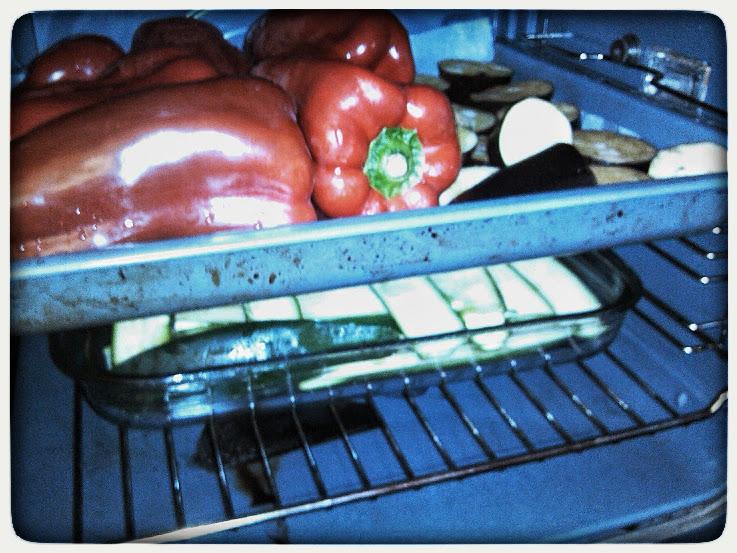 pimientos, berenjenas y calabacines al horno