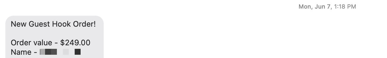 Guest Hook Zapier text notification