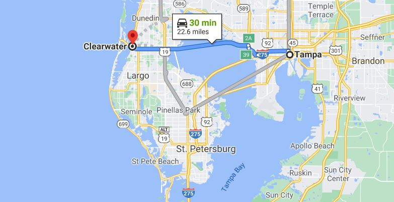 Drive map from Tampa, FL to Clearwater, FL