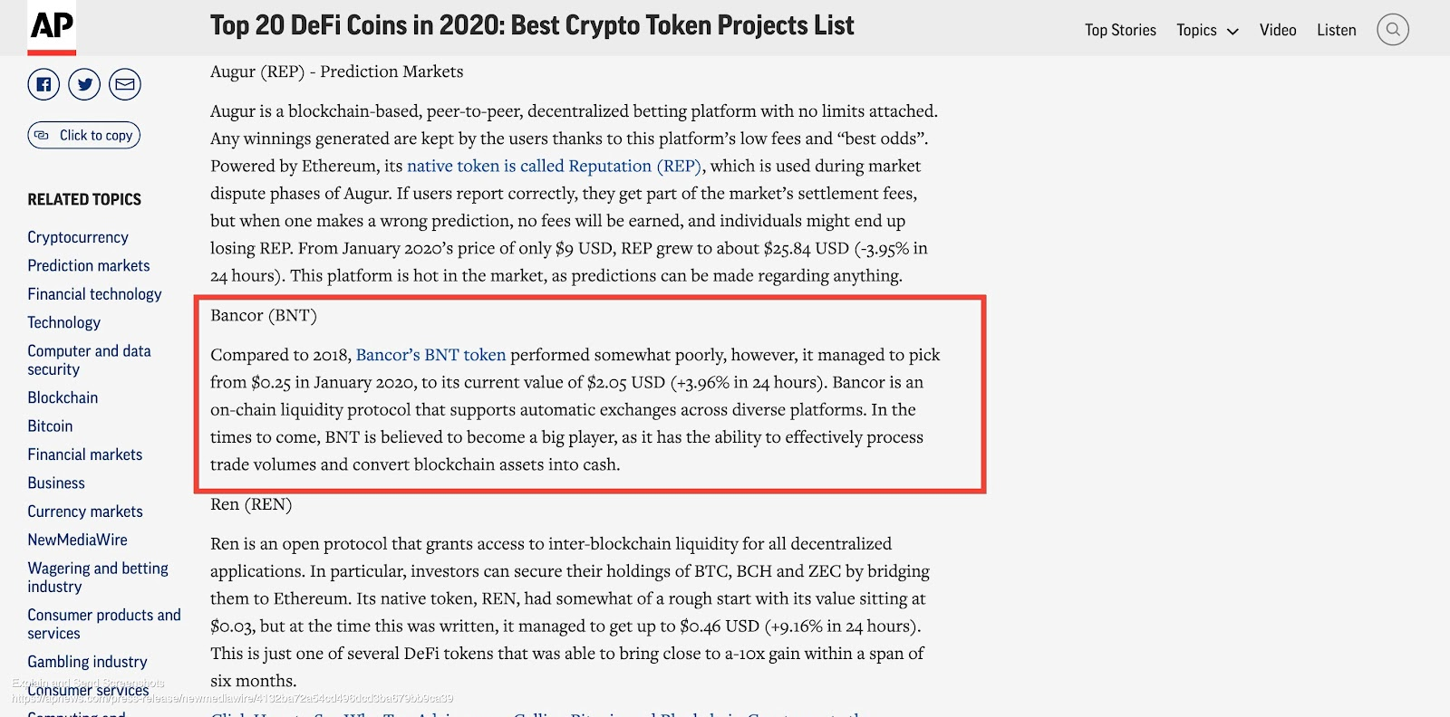 Top 20 DeFi coins in 2020, Bancor