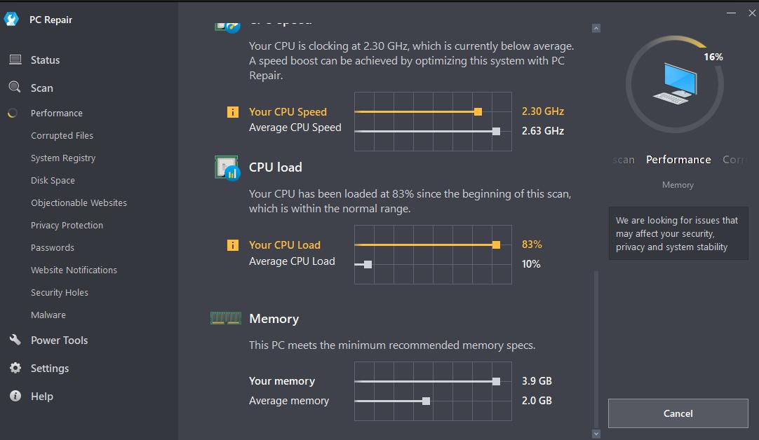 Outbyte PC Repair Scan Screenshot