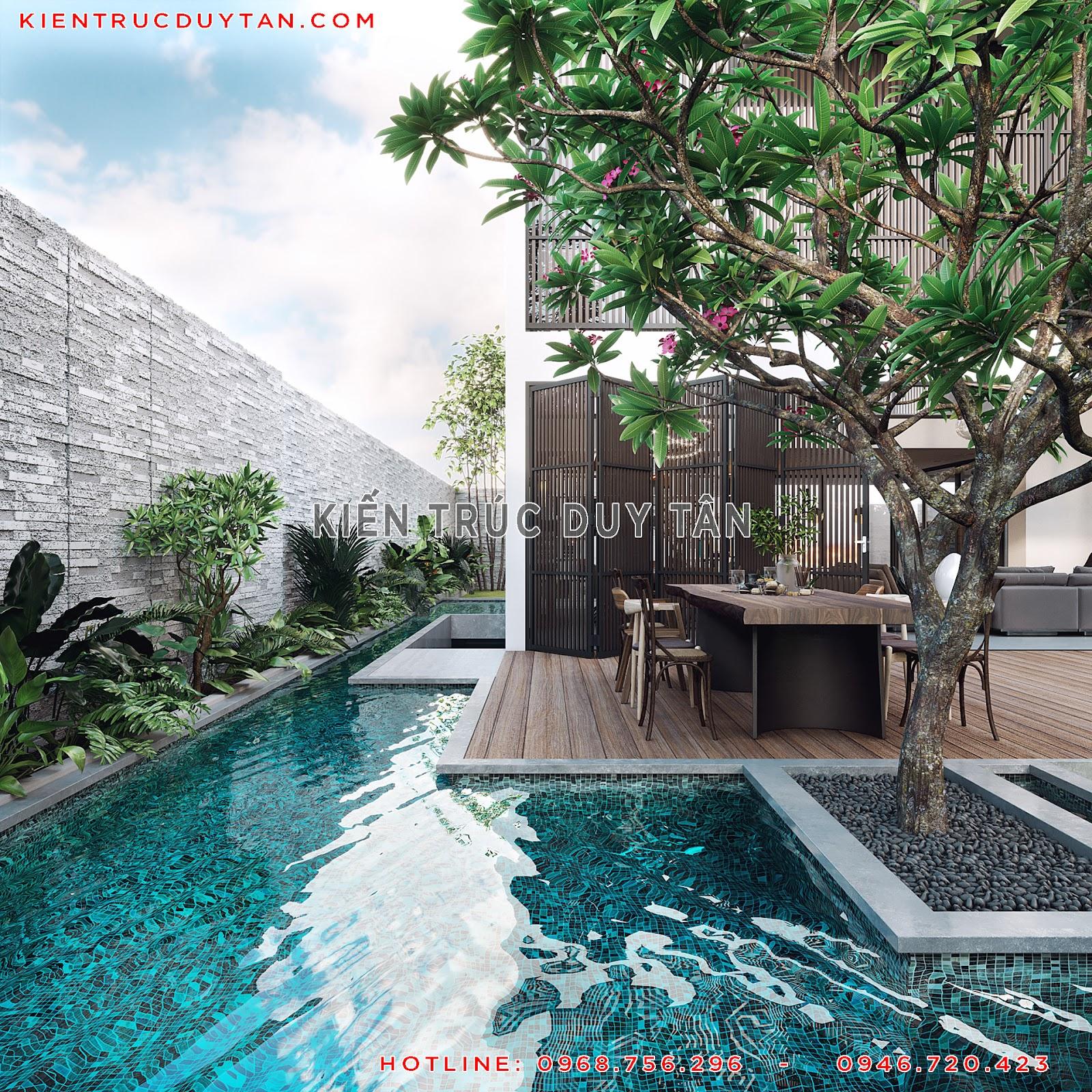 Thiết kế bể bơi cho mẫu biệt thự 2 tầng
