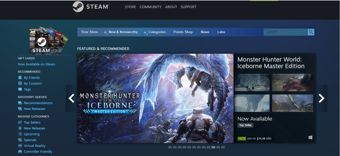 Steam games store
