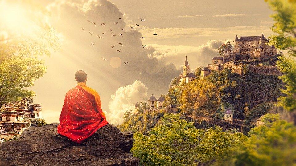 Meditação, Budismo, Monge, Templo, Panorama, Budista