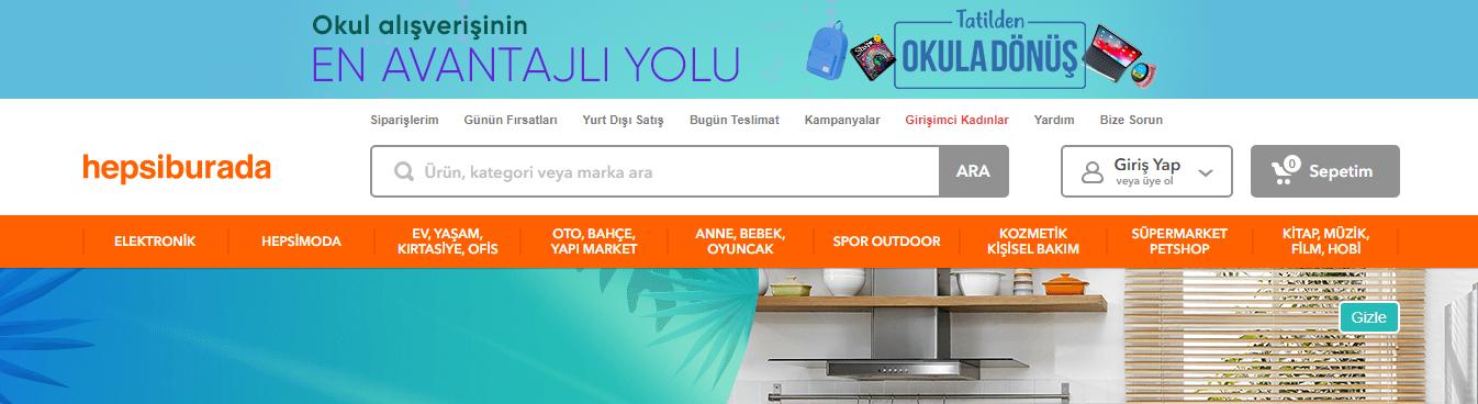 e-ticaret açılış sayfası
