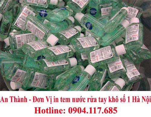 in tem nước rửa tay khô