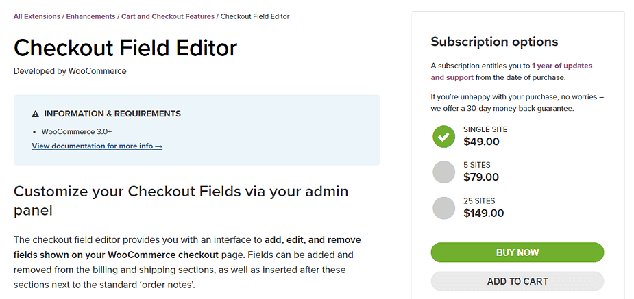 Plugin Checkout Field Editor.