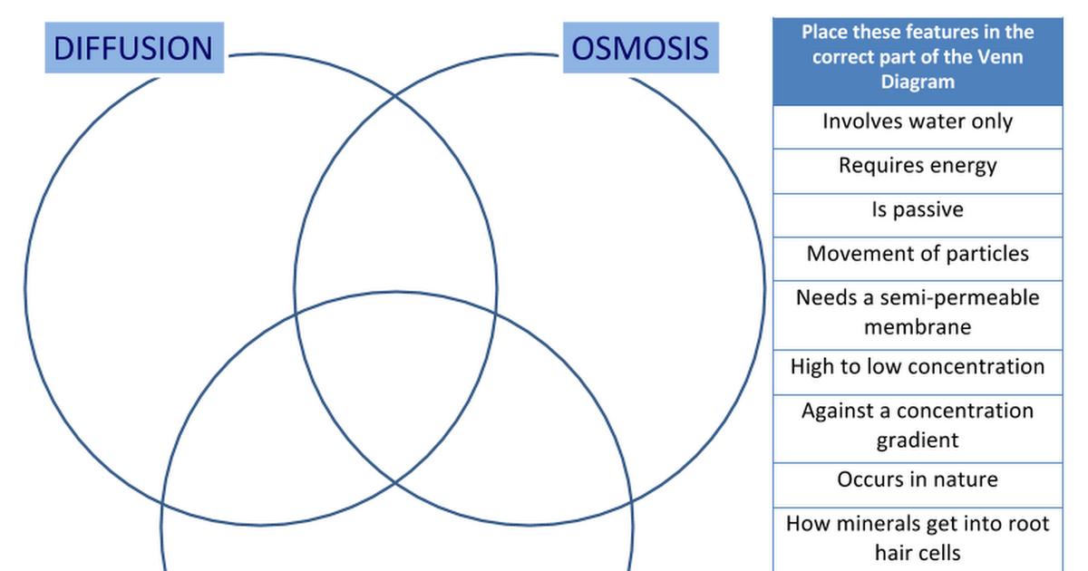 Diffusion Osmosis Active Transport Venn Diagram Google Slides