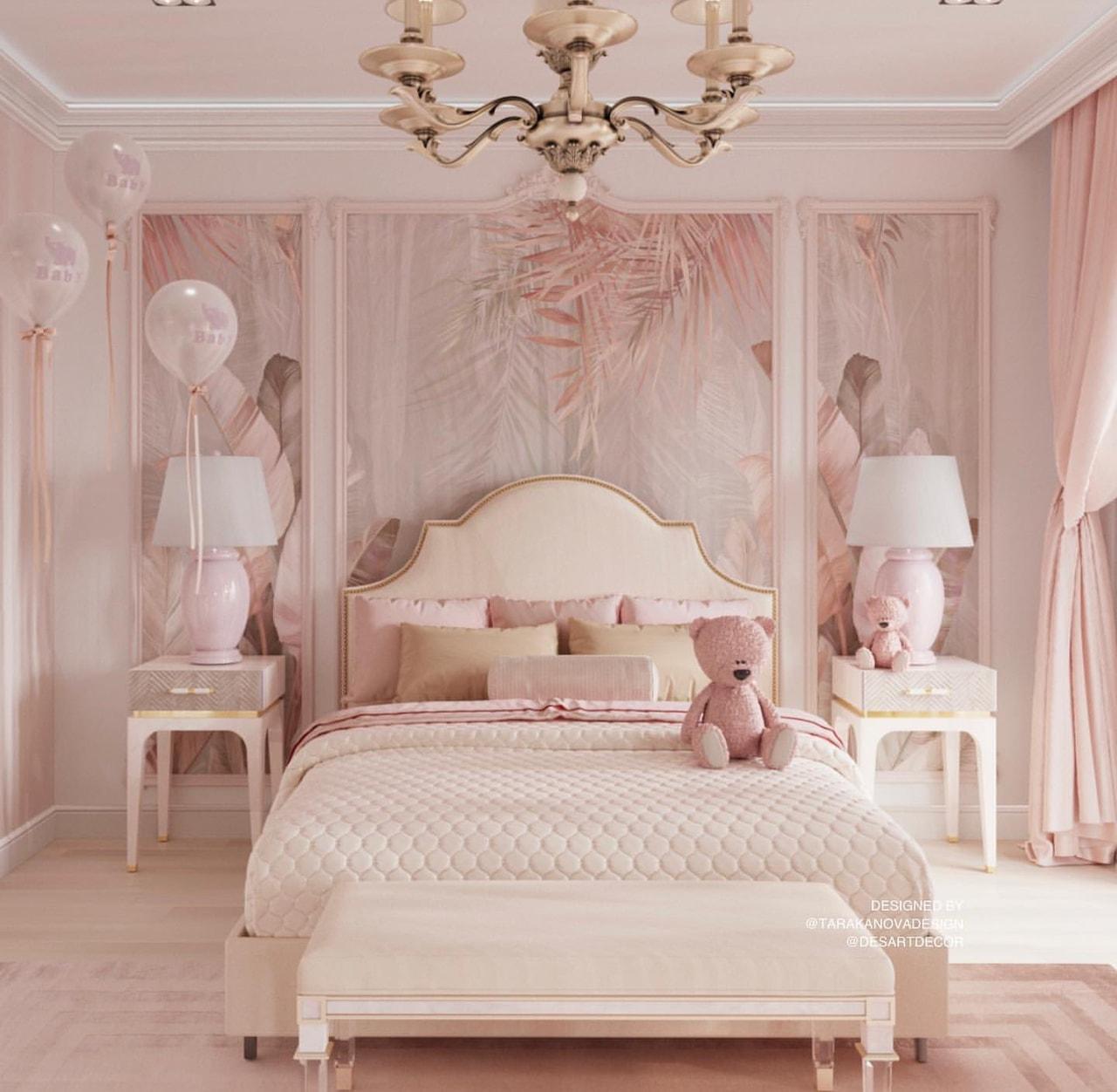 Màu hồng dịu dàng của nội thất phòng ngủ cho bé gái