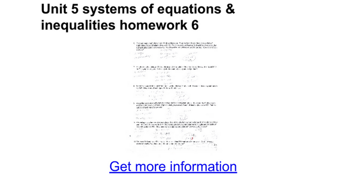 Unit 5 Systems Of Equations Inequalities Homework 6 Google Docs