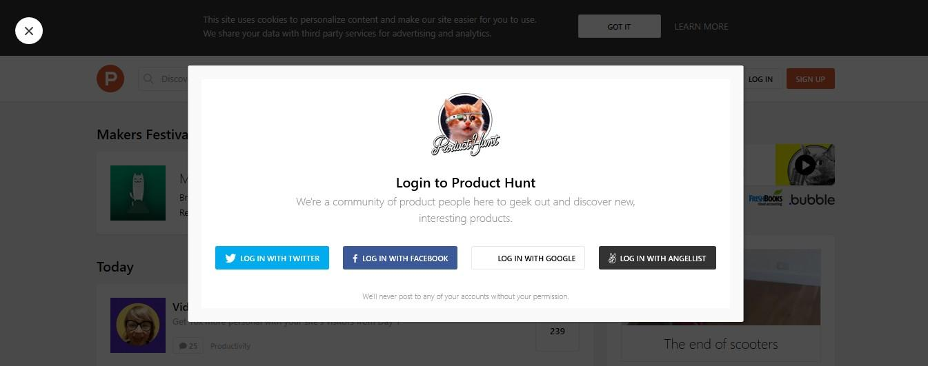 create account product hunt