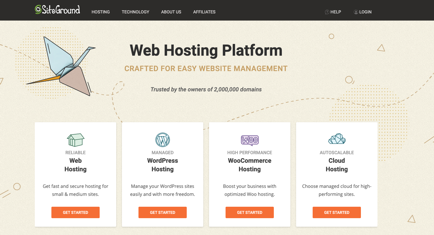 SiteGround website with hosting packages