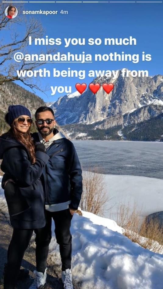 Image result for Sonam Kapoor feels 'Nothing is worth being away from' her husband