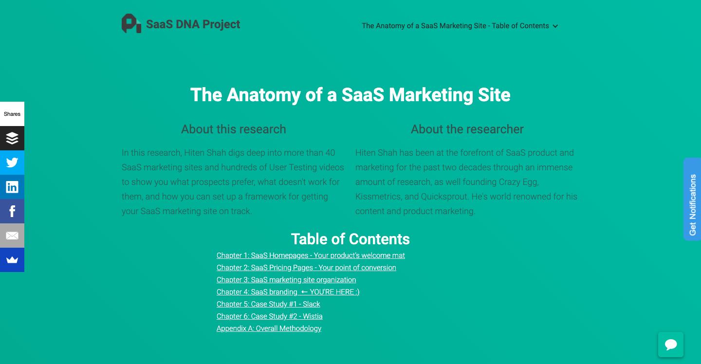 Anatomy of a SaaS marketing site