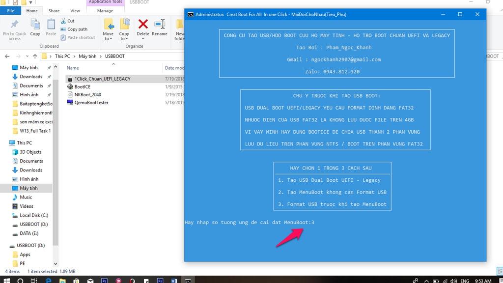 Nhập 3 để tiến hànhFormart USBtrước khi tạoMenuBoot