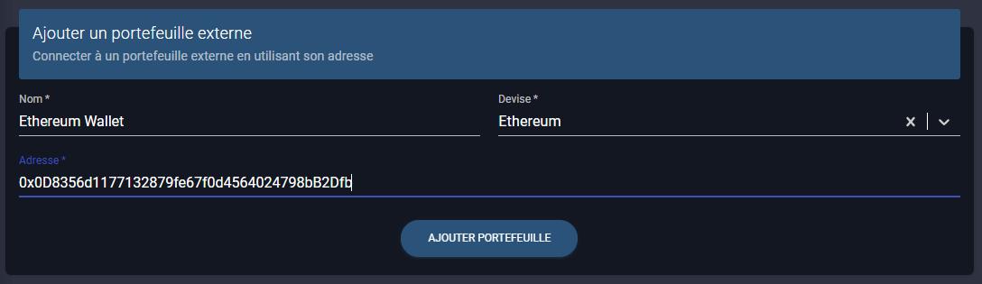 ajout d'un portefeuille externe comme un wallet ethereum