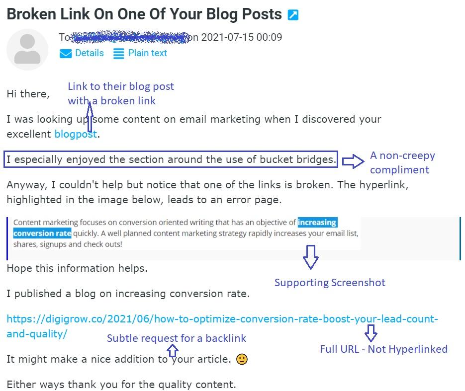 Email template for Broken link building method for new websites that works