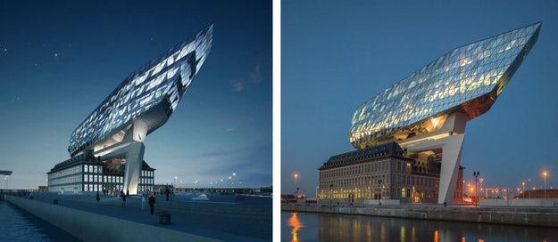 Zaha Hadid's Crystalline Port Authority in Antwerp