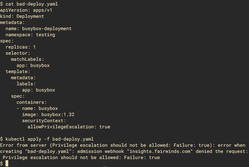 Example of cat bad-deploy.yaml screenshot