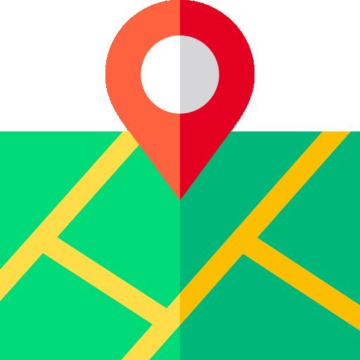mapa com pino de localização