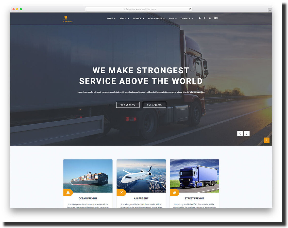 Carries logistics and transportation website template
