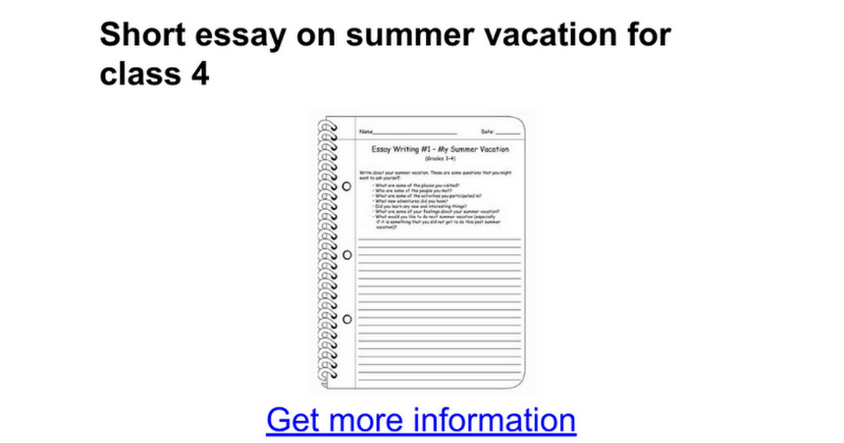 essay on summer vacation for class 6 Enjoy proficient essay writing and custom writing services provided by professional academic writers how i spent my summer vacation essay for kids point wise class 1.
