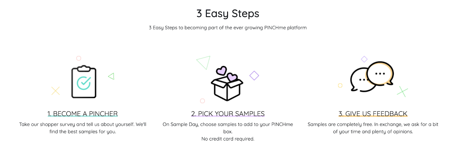 3 step guide to Free Stuff with PINCHme