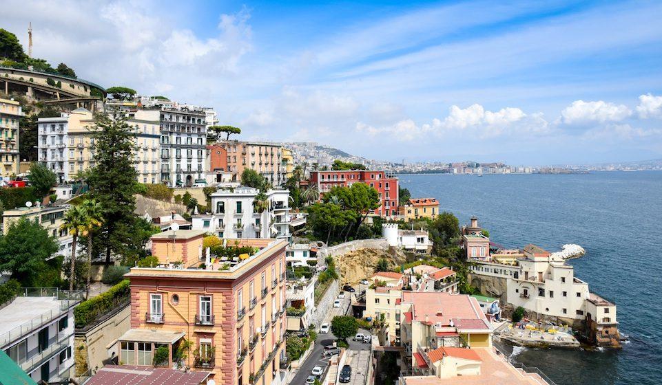 Naples Italy Coastline Colorful Houses