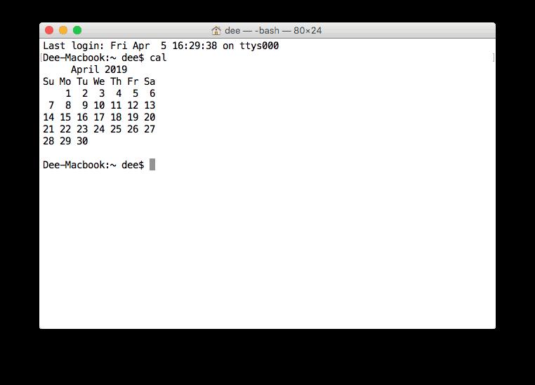 mostrar calendário no terminal