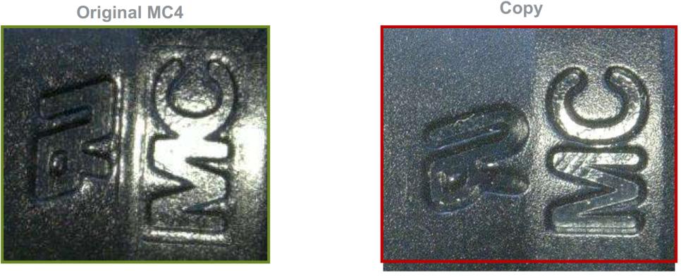 Figura 8: Marcas MC e UL no conector original e na cópia. Fonte: Stäubli