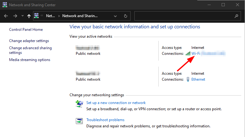 Find Network Security Key on Windows 10. Network and Sharing Center > Wi-Fi. Source: nudesystems.com