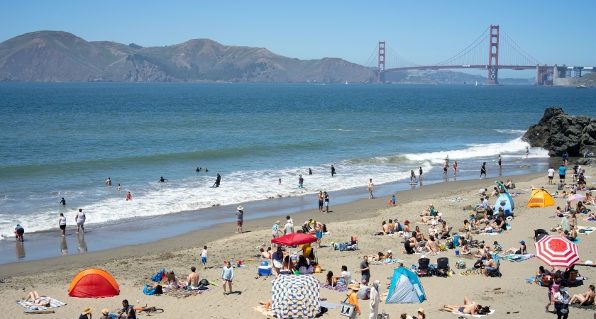 beachgoers in San Francisco