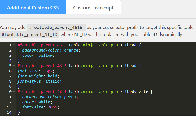 manage styling a table with CSS