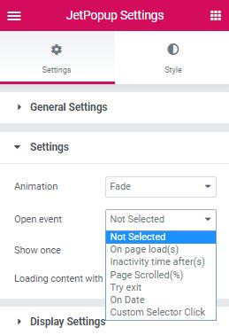 open event option