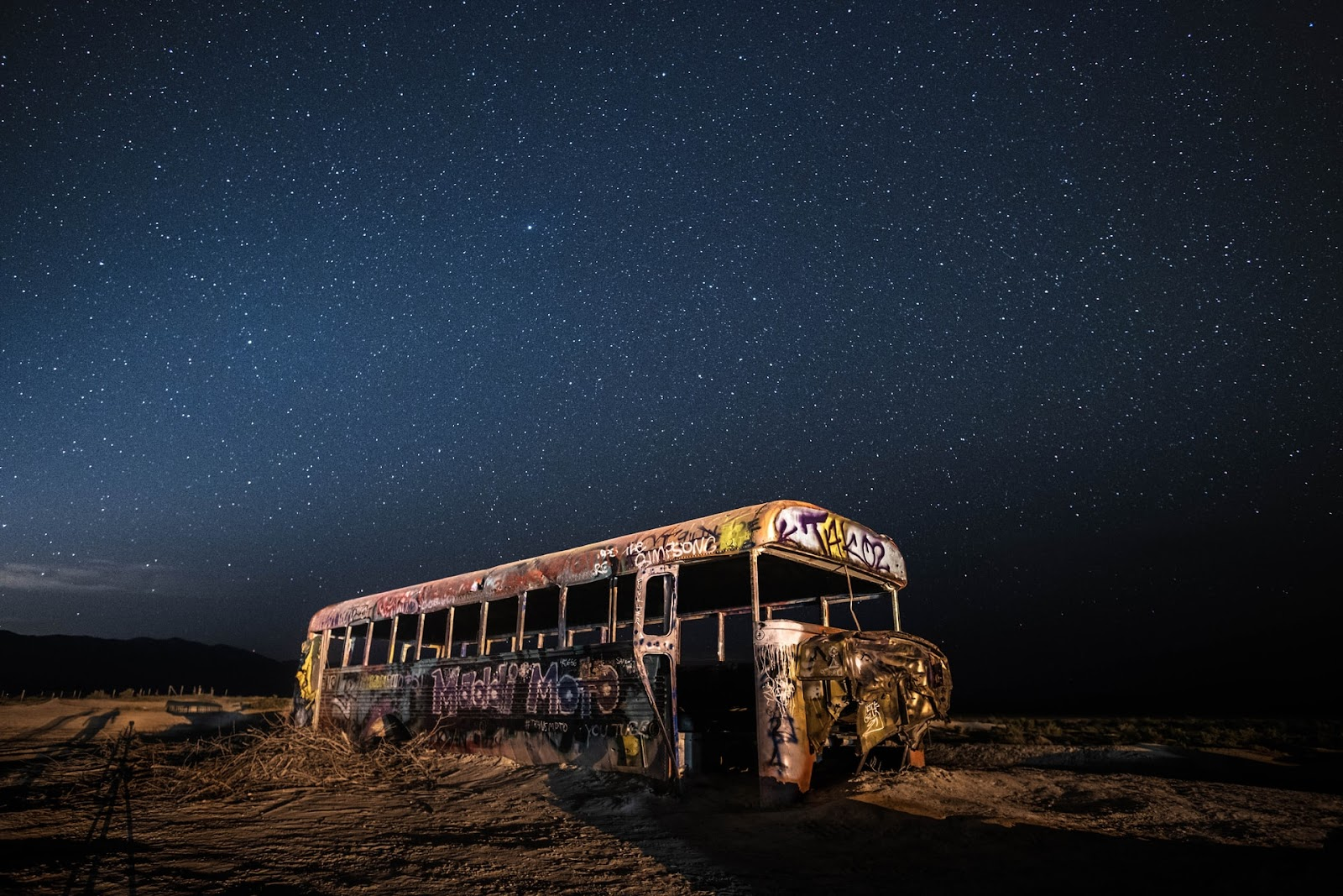 school bus night sky