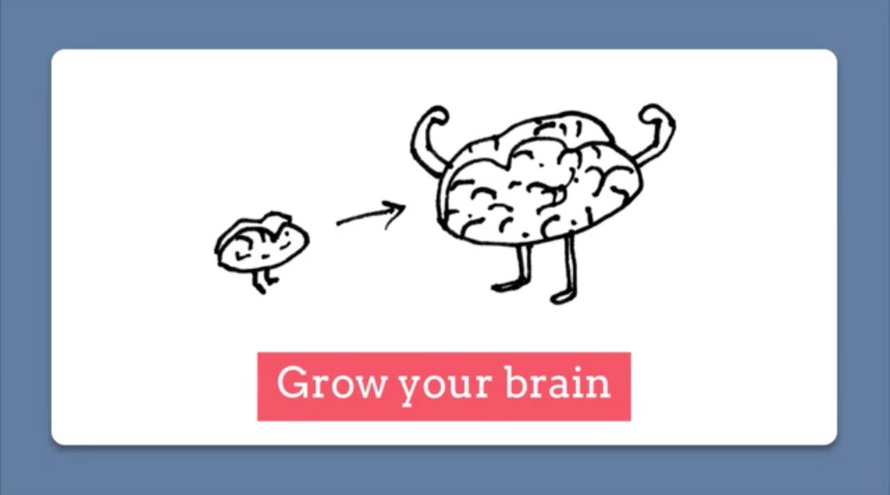 """creative doodle of a brain """"grow your brain"""""""