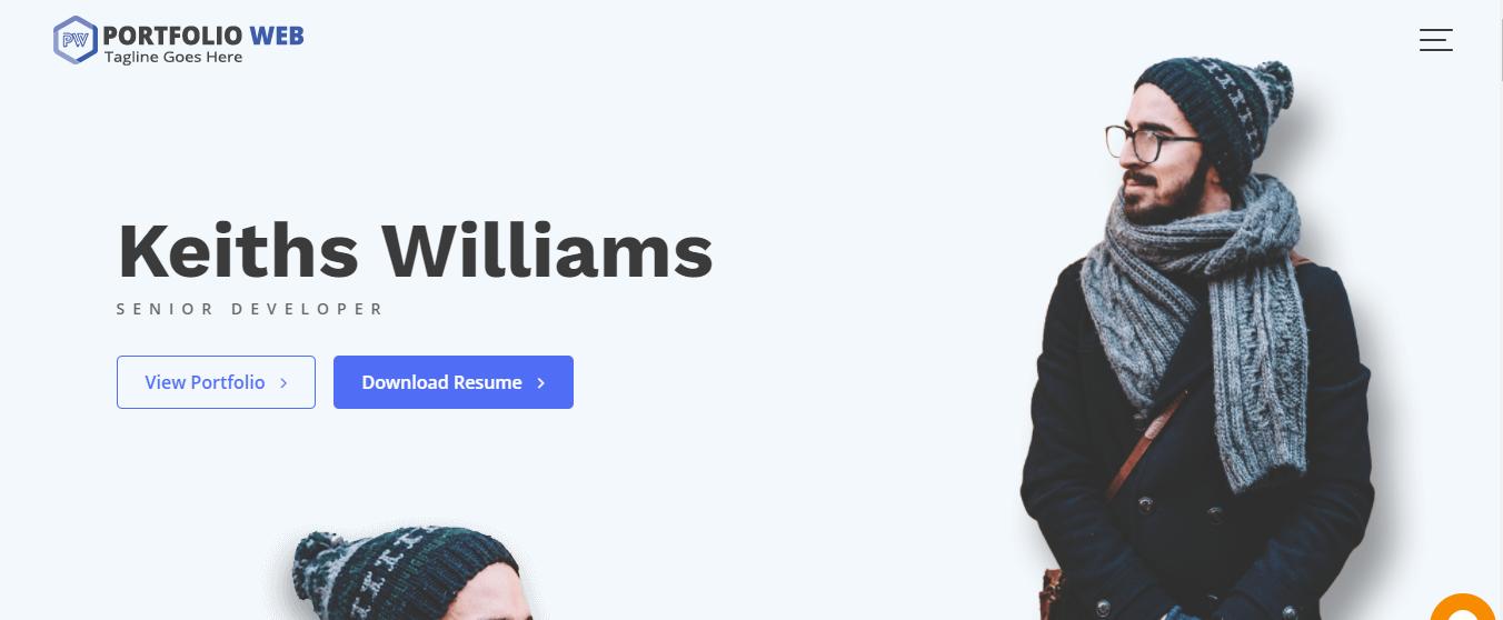 Tampilan template portfolio web
