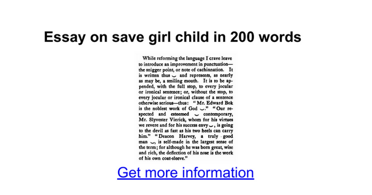 essay on save girl child in words google docs