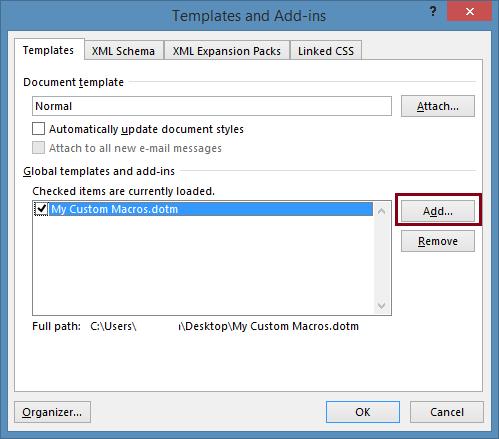 Add custom template as a Global Template