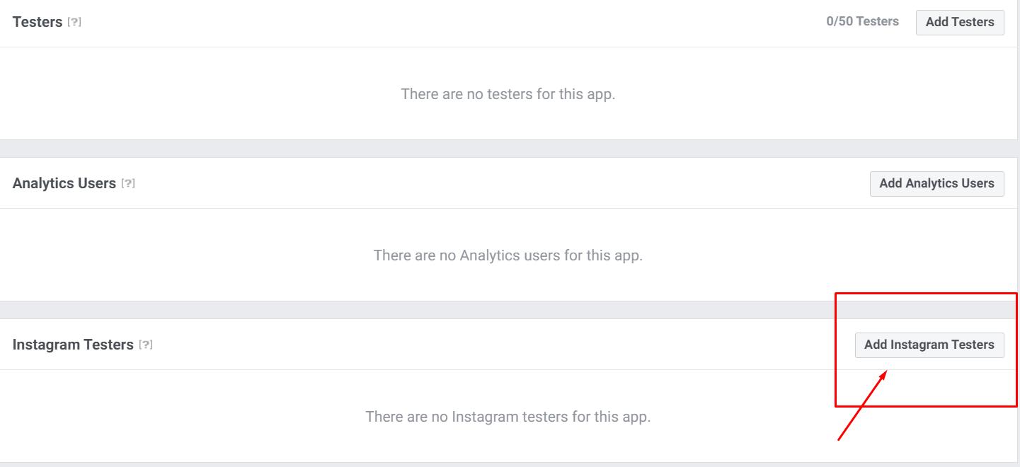 add Instagram testers for Instagram access token