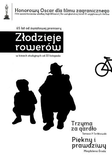 Przód ulotki filmu 'Złodzieje Rowerów'