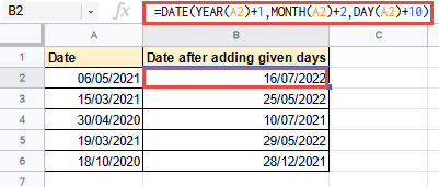 add days to dates google sheets