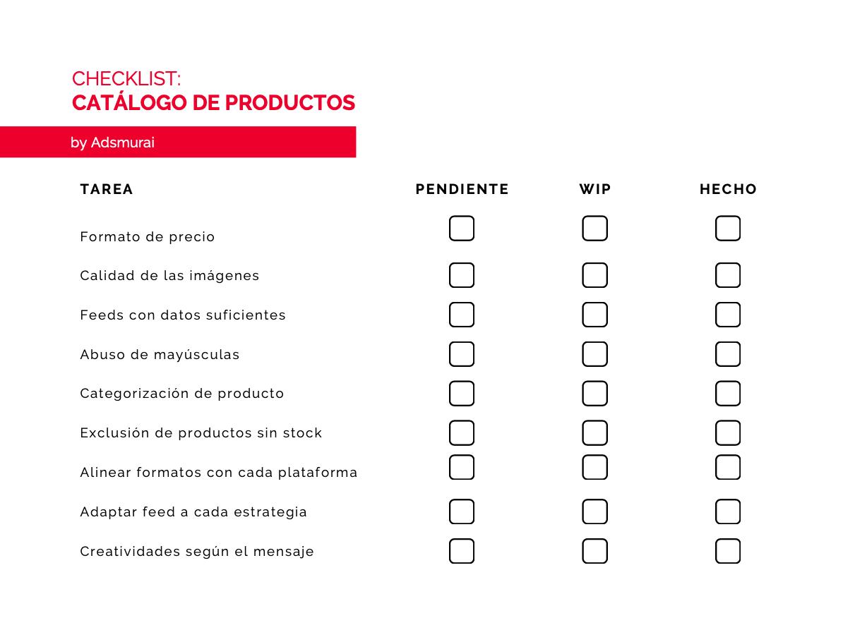 checklist catalogo productos