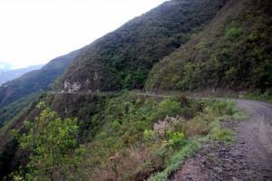 The standard view: thin road, big drops