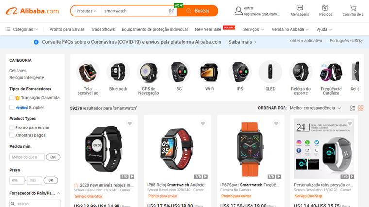 pagina da alibaba com produtos mais vendidos na internet