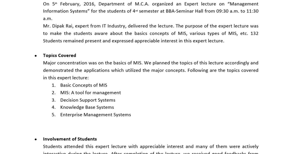 3 Report on Expert Lecture on MIS docx - Google Drive