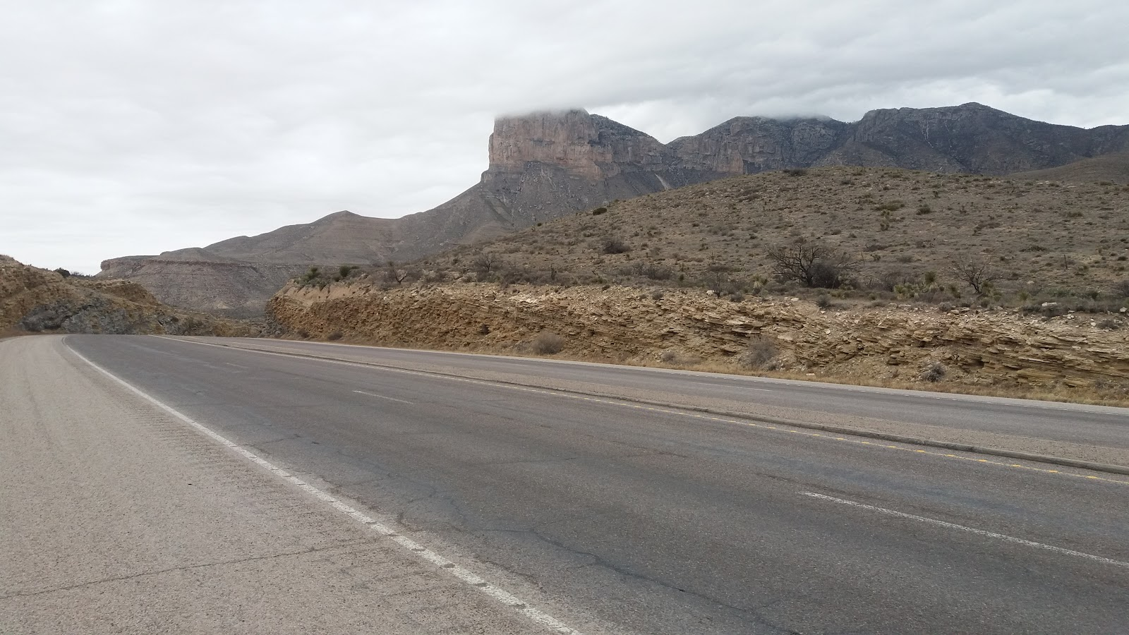 Bicycle ride Guadalupe Mountains National Park - road, mountain, rock formations
